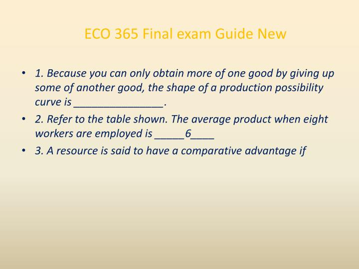 ECO 365 Final exam Guide New