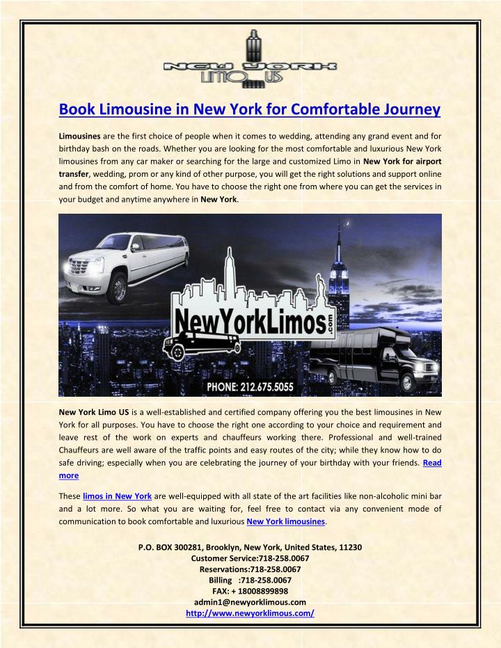 Book Limousine in New York for Comfortable Journey