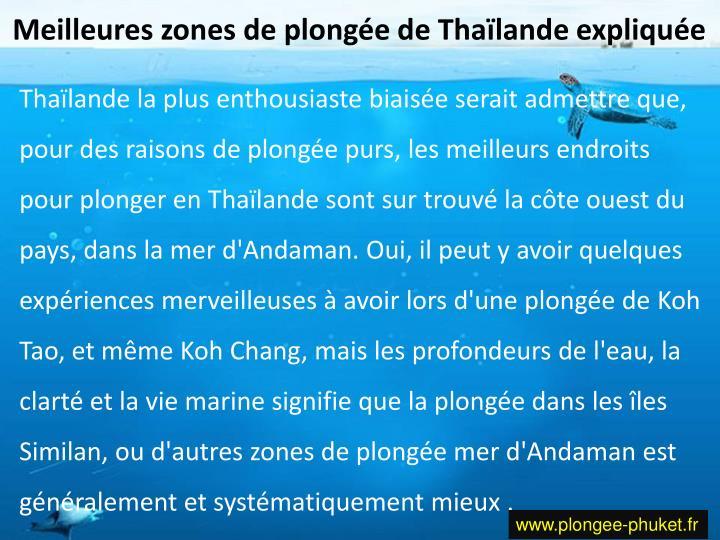 Meilleures zones de plongée de Thaïlande expliquée