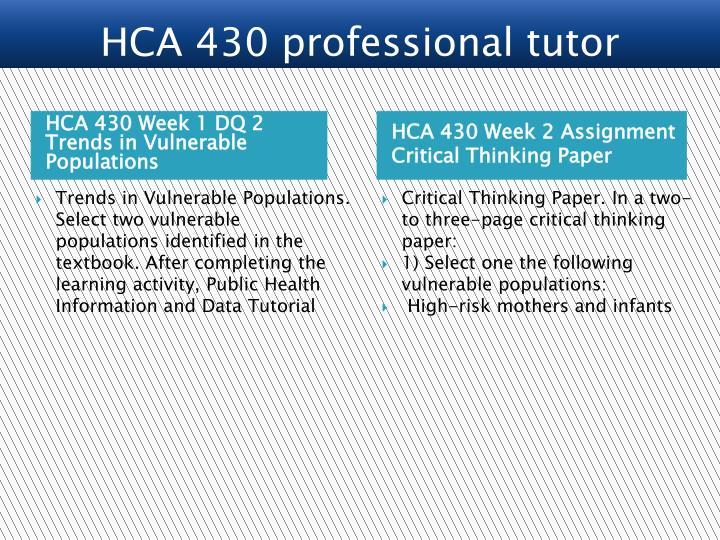 HCA 430 professional tutor