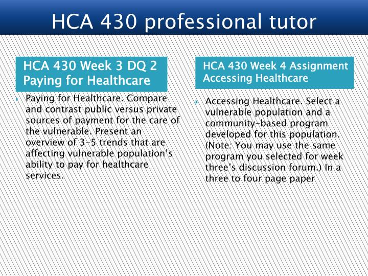 HCA 430 Week 3 DQ 2 Paying for Healthcare