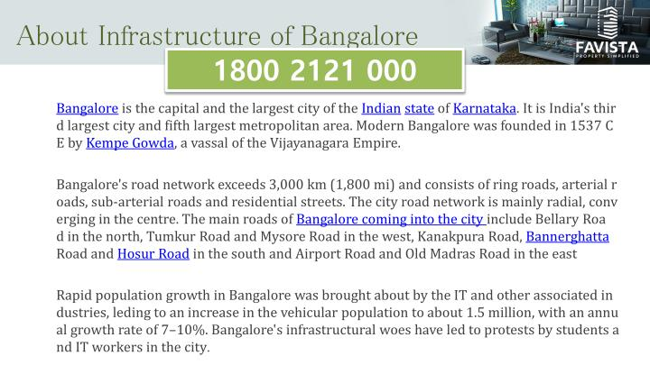 About infrastructure of bangalore
