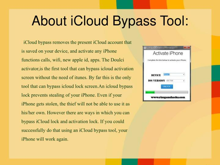 About icloud bypass tool
