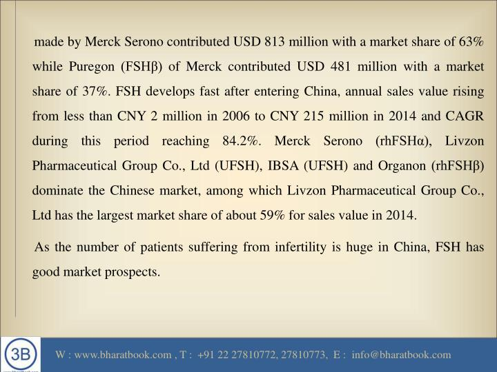 Made by Merck Serono contributed USD 813 million with a market share of 63% while Puregon (FSHβ) of...