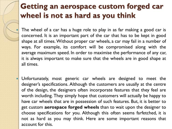 Getting an aerospace custom forged car
