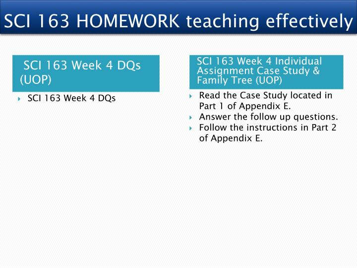 SCI 163 HOMEWORK teaching effectively