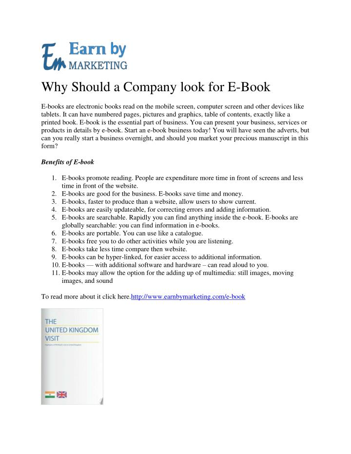 Why Should a Company look for E-Book