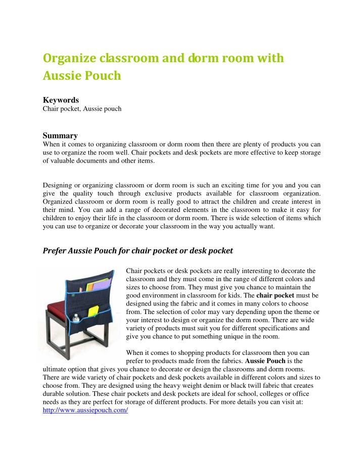 Organize classroom and dorm room with