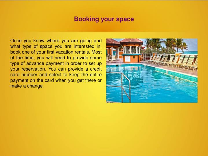 Booking your space