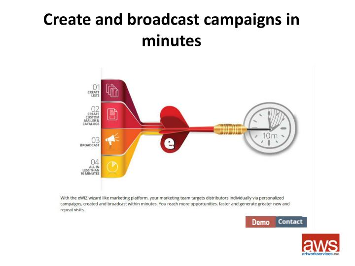 Create and broadcast campaigns in minutes