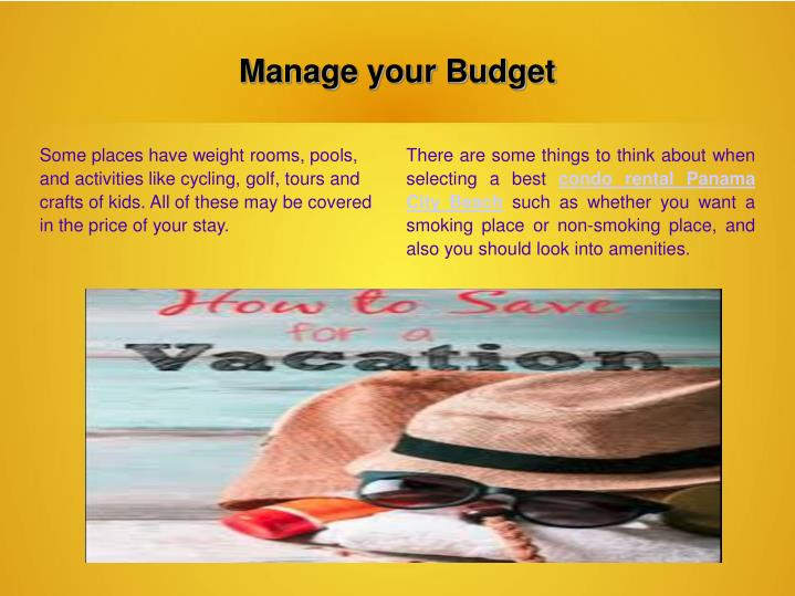 Manage your Budget