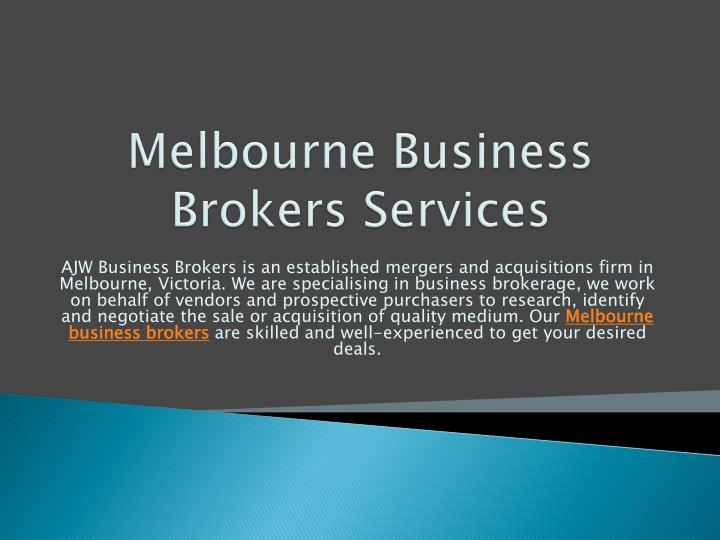Melbourne business brokers services