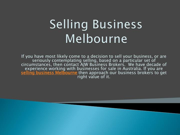 Selling Business Melbourne