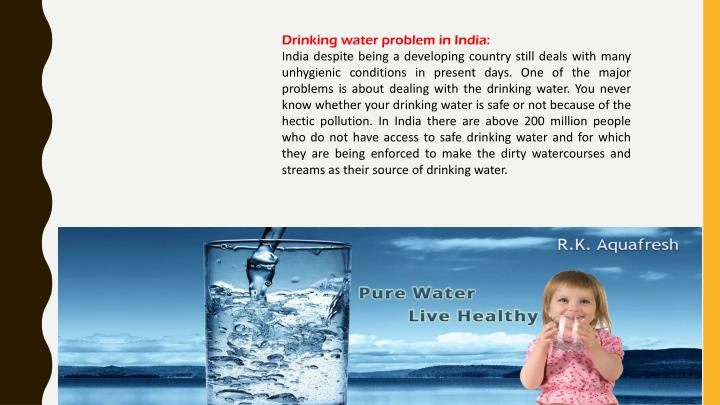 Drinking water problem in India:
