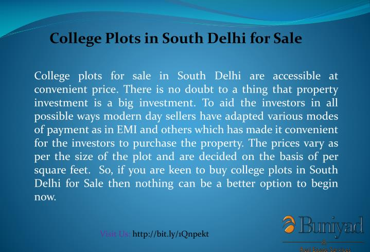 College Plots in South Delhi for Sale
