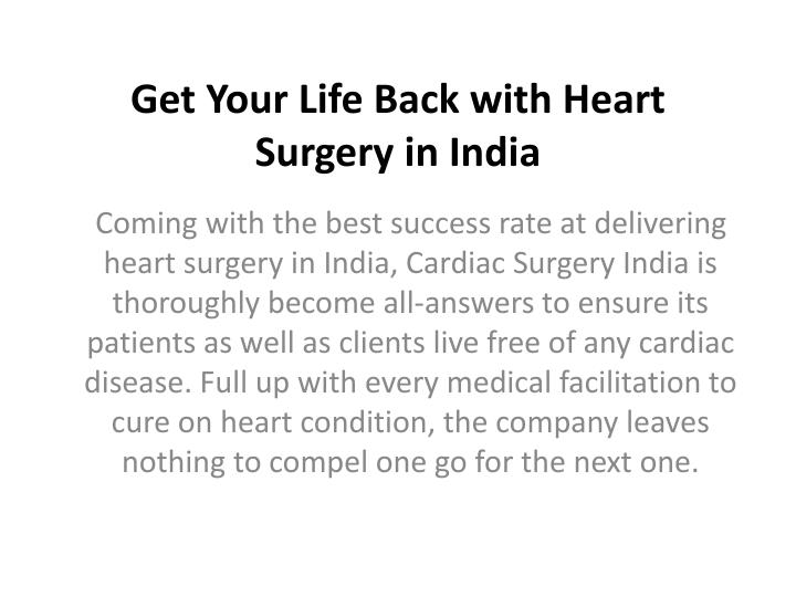 Get Your Life Back with Heart Surgery in India