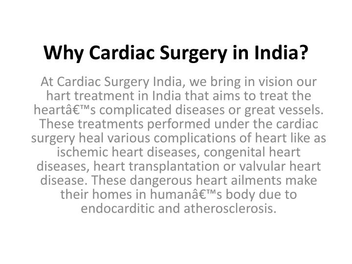Why cardiac surgery in india