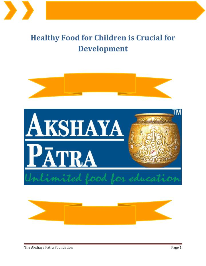 Healthy Food for Children is Crucial for