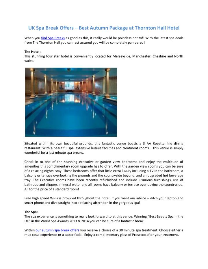 UK Spa Break Offers
