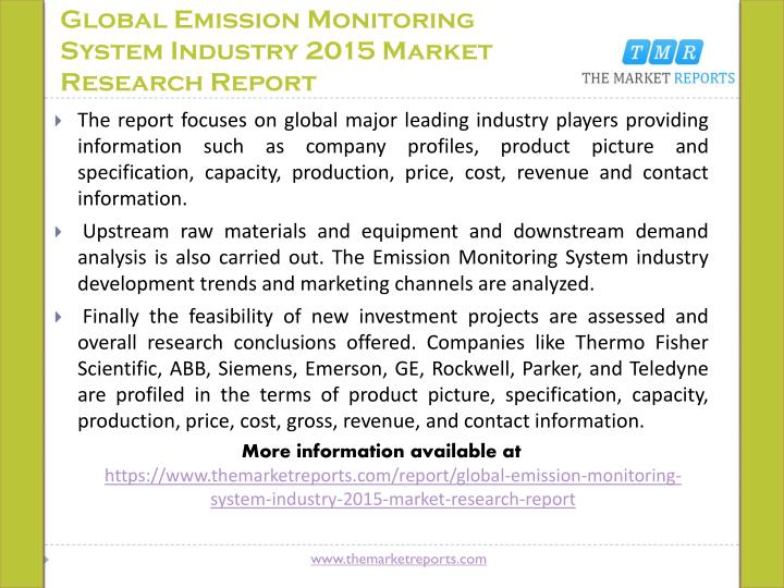 Global Emission Monitoring System Industry 2015 Market Research Report