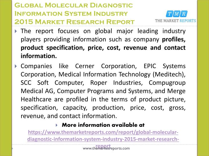 Global molecular diagnostic information system industry 2015 market research report1