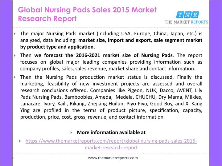 Global Nursing Pads Sales 2015 Market Research Report