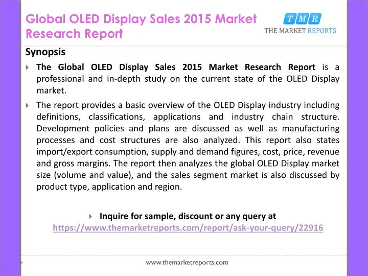 Global oled display sales 2015 market research report