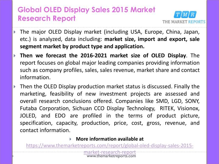 Global oled display sales 2015 market research report1