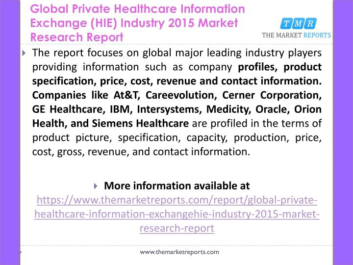 Global Private Healthcare Information Exchange (HIE) Industry 2015 Market Research Report
