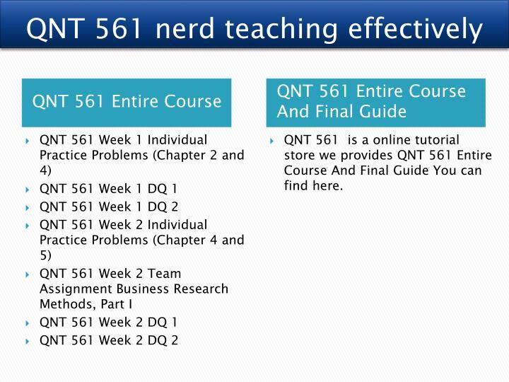 QNT 561 nerd teaching effectively
