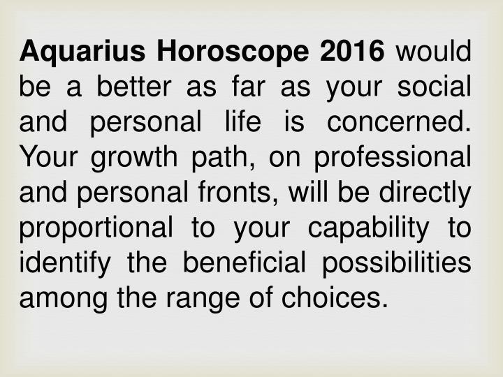 Aquarius Horoscope 2016