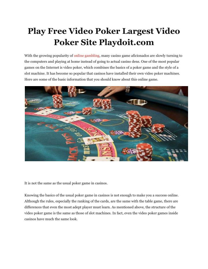 Play Free Video Poker Largest Video