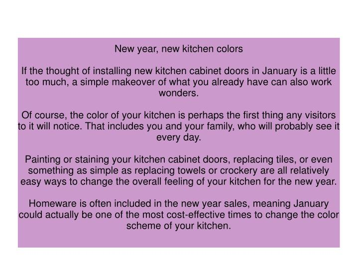 New year, new kitchen colors