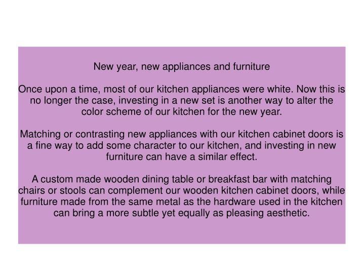 New year, new appliances and furniture