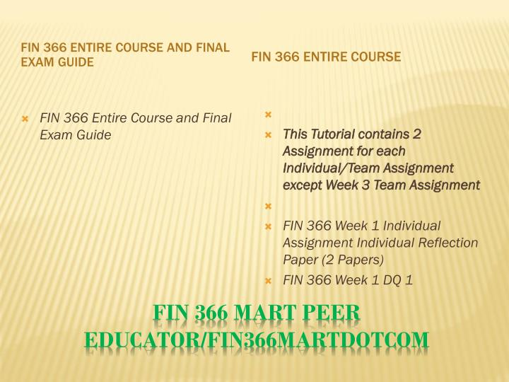FIN 366 Entire Course and Final Exam Guide