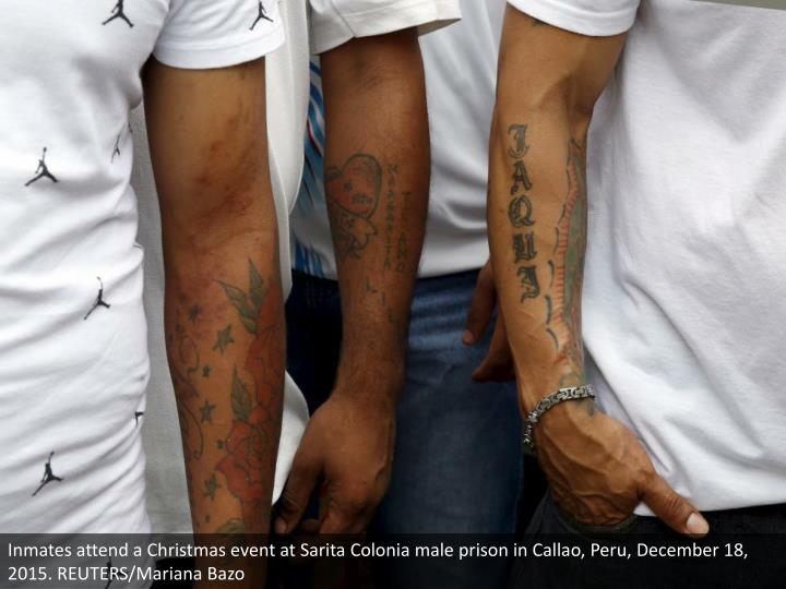 Inmates attend a Christmas event at Sarita Colonia male prison in Callao, Peru, December 18, 2015. REUTERS/Mariana Bazo
