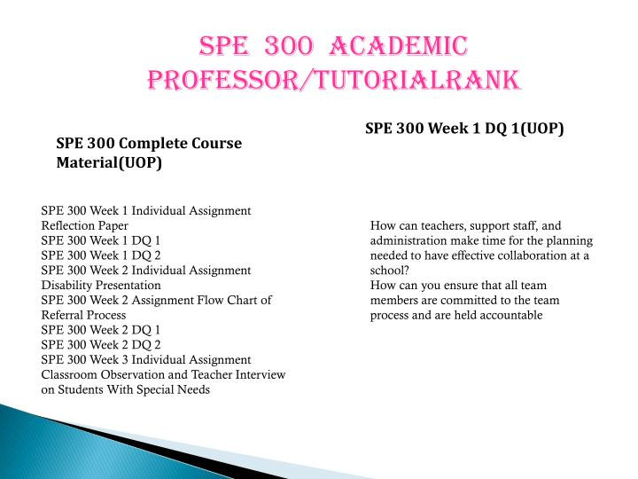 SPE  300  ACADEMIC PROFESSOR/TUTORIALRANK