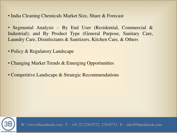 • India Cleaning Chemicals Market Size, Share & Forecast