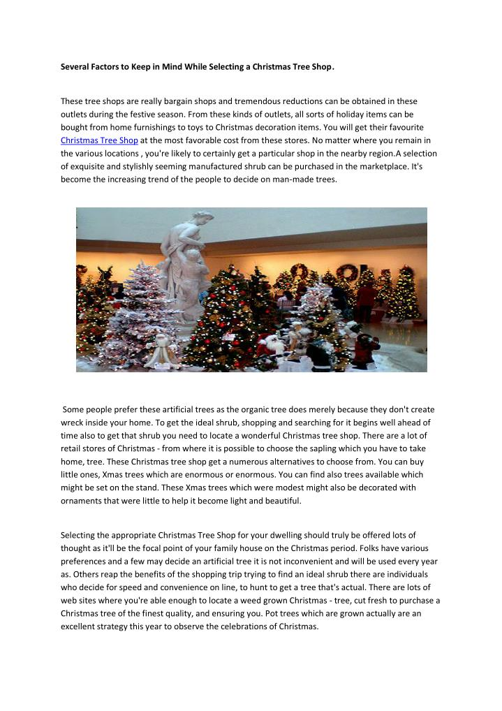 Several Factors to Keep in Mind While Selecting a Christmas Tree Shop.