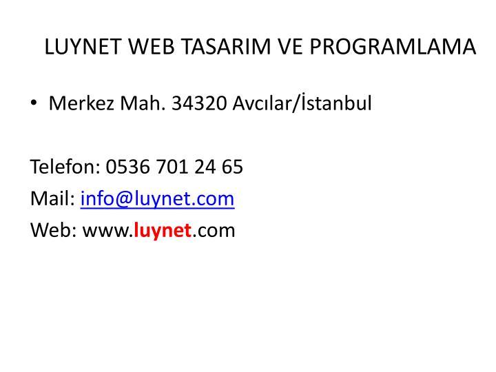 LUYNET WEB TASARIM VE PROGRAMLAMA
