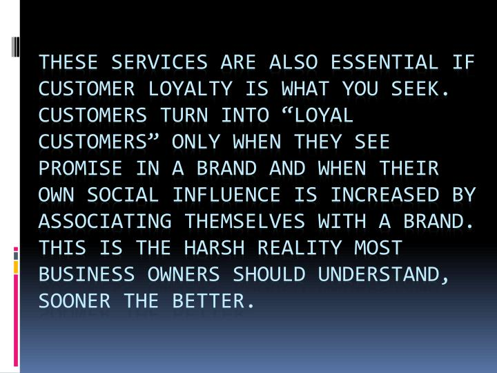"These services are also essential if customer loyalty is what you seek. Customers turn into ""loyal customers"" only when they see promise in a brand and when their own social influence is increased by associating themselves with a brand. This is the harsh reality most business owners should understand, sooner the better."