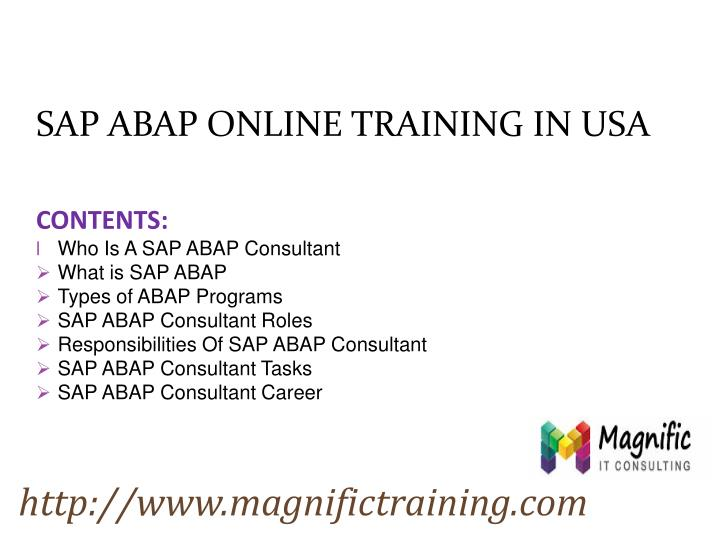 SAP ABAP ONLINE TRAINING IN USA