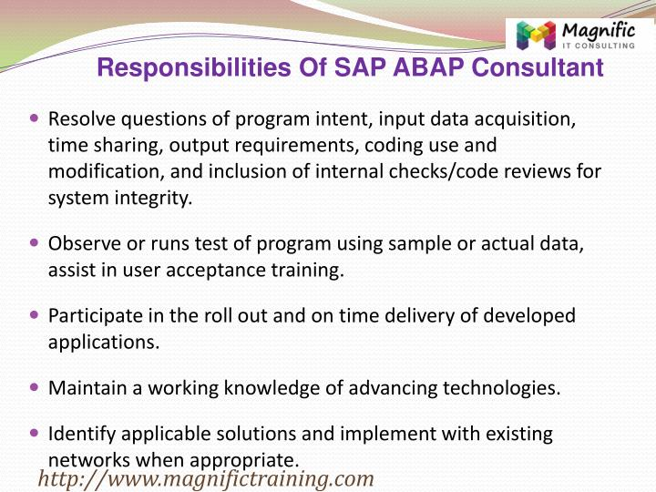 Responsibilities Of SAP ABAP Consultant