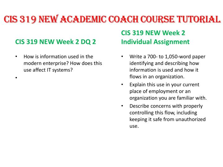 CIS 319 NEW Academic