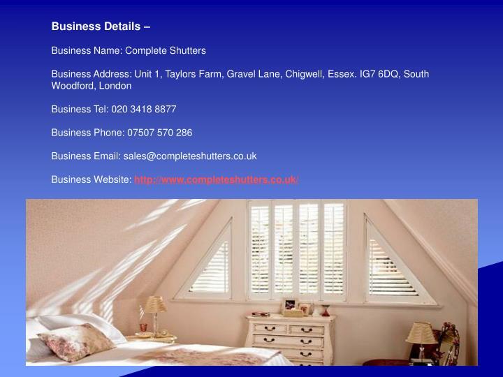 Business Details –