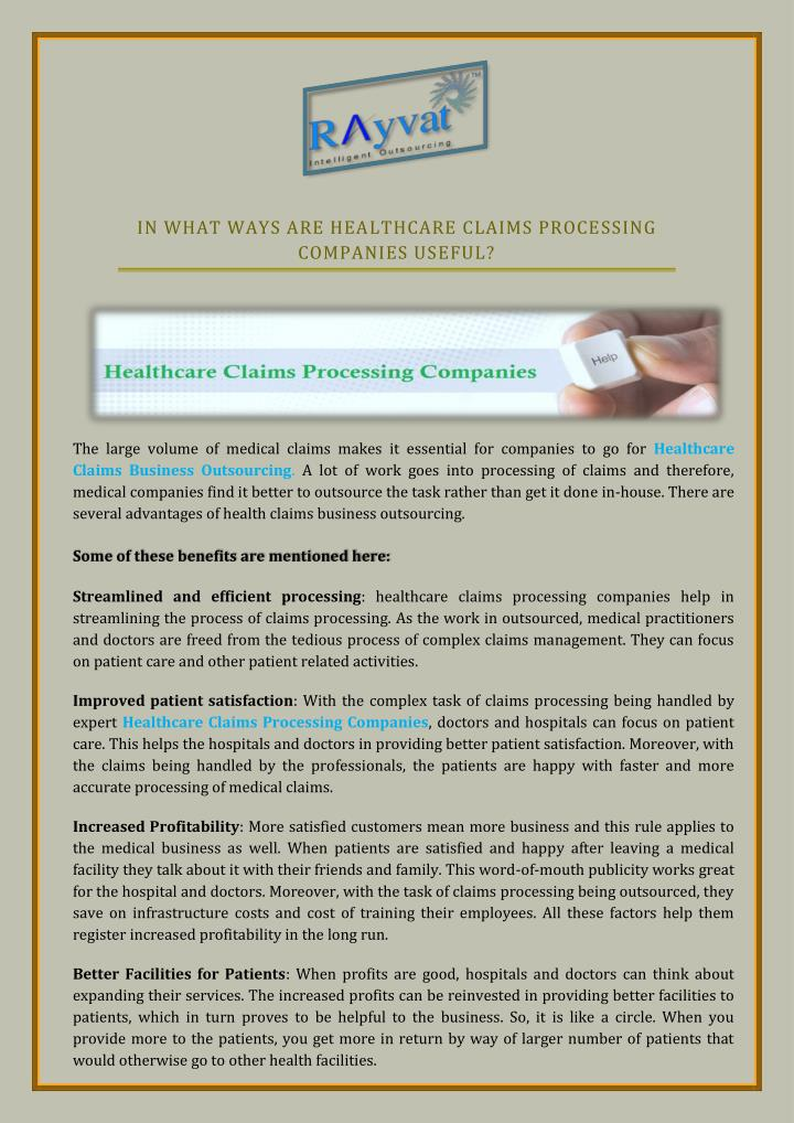 IN WHAT WAYS ARE HEALTHCARE CLAIMS PROCESSING