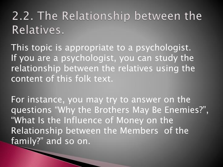 2.2. The Relationship between the Relatives.