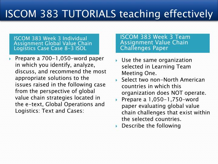 ISCOM 383 TUTORIALS teaching effectively