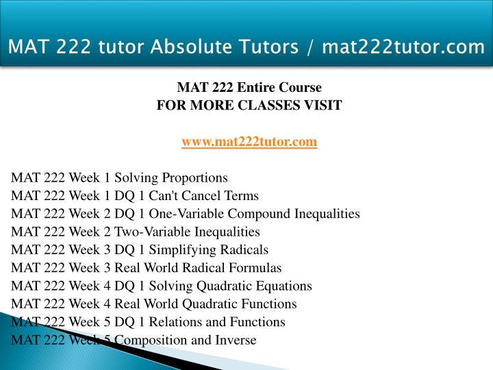 MAT 222 tutor Absolute Tutors / mat222tutor.com