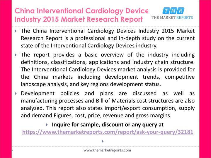 China interventional cardiology devices industry 2015 market research report